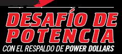 logo del desafío de potencia de dodge con el respaldo de power dollars